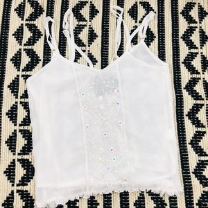 Chandelier White Blouse with Pastel Accents NWT